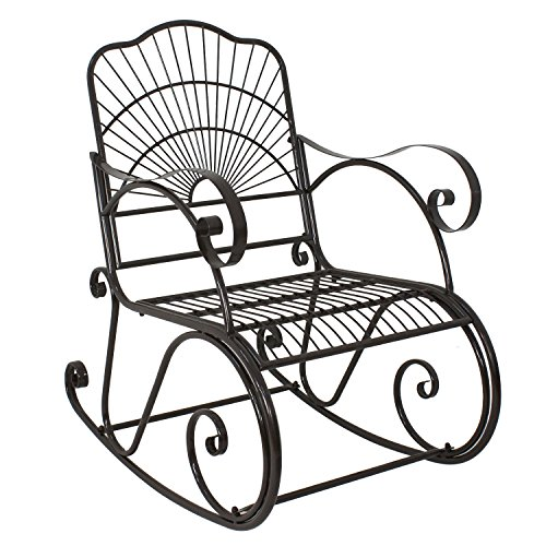 F2C Backyard Metal Iron Rocking Chair with Arms/Back Outdoor Porch Seat Glider Rocker (1)