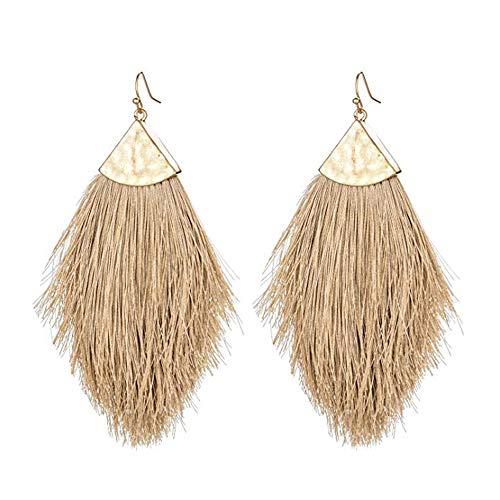 Tassel Fringe Earrings Statement Summer Colorful Fan Long Feather Shape Drop Dangle Brown Earrings for Women Girls