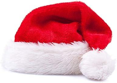 Fliyeong Gorro navideño de Santa Grosor de lujo Corto de felpa Gorro de Navidad Grosor alargado de gorro de Navidad de Papá Noel para adultos: Amazon.es: Ropa y accesorios