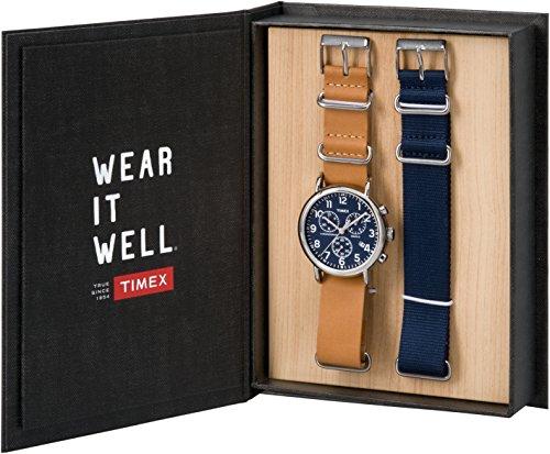 Timex TWG012800QM Unisex Weekender Chrono Tan Leather Strap Watch Gift Set + Navy Nylon Strap by Timex (Image #1)