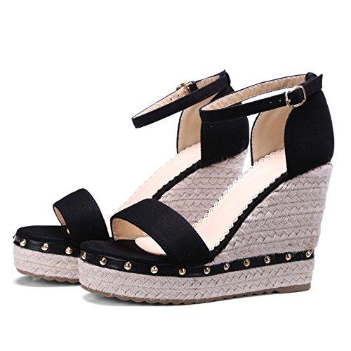 Coolcept Mujer Moda Al Tobillo Sandalias Punta Abierta Tacon de Cuna Zapatos Negro