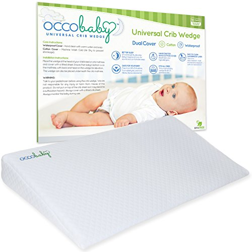 OCCObaby Universal Crib Wedge Pillow for Baby Mattress | Waterproof Layer & Handcrafted Cotton Removable Cover | 12-degree Incline for Better Night's (Clean Air Odor Free Diaper)