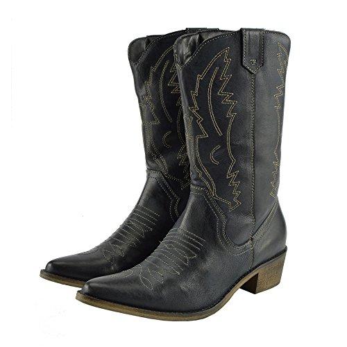 Stivali Da Cowboy In Pelle Western Da Donna Scarpe A Punta Da Donna In Pelle Di Vitello Nera