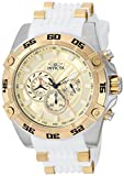 Invicta Men's 'Speedway' Quartz Stainless Steel and Silicone Casual Watch, Color:White (Model: 25510)