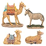 THREE KINGS GIFTS THE ORIGINAL GIFTS OFCHRISTMAS Traditional Christmas Nativity Animal Figurines Deluxe 4 Piece Resin Stone Set
