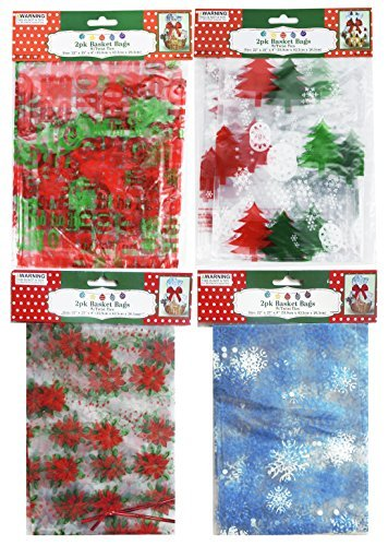 Holiday Basket Bags With Twist Ties 4 Designs Set