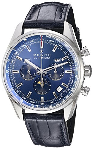 Zenith Men's 'El primero' Swiss Stainless Steel and Leather Automatic Watch, Color:Blue (Model: 032097410.51C)