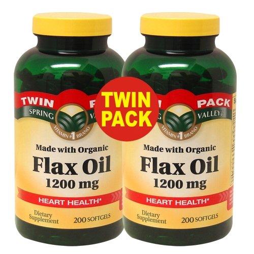 Spring Valley - Huile de lin 1200 mg, graines de lin bio, 400 gélules, Twin Pack (2 Bouteilles de 200 chacun)