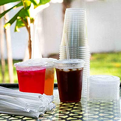 Plastic Cups with Lids and Straws [ 16oz ] Clear Disposable Cups Ideal for Iced Coffee, Juice, Bubble Boba, Smoothie, Soda, Cocktail Party and Tea etc (100 Cups+Lids+Straws)