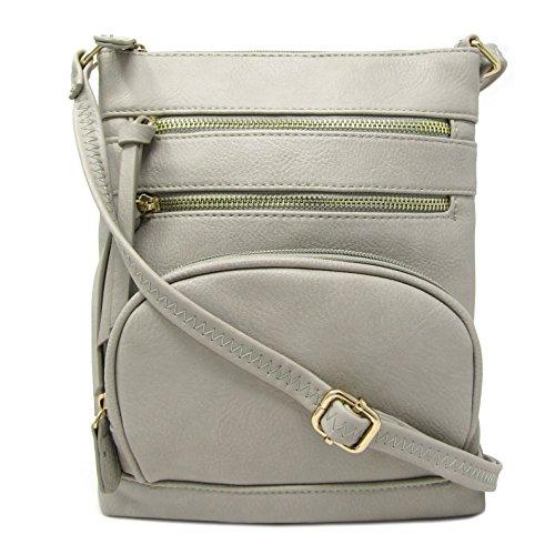 Solene Pocket Grey Purse Crossbody Multi Bag Faux Leather wfqr7f