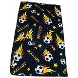 LARGE Size 70x60 Soccer Ball Anti-pill Polar Fleece Blanket (Black) - 5pcs