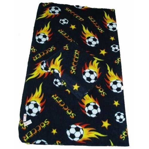 LARGE Size 70x60 Soccer Ball Anti-pill Polar Fleece Blanket (Black) - 5pcs by DonxingUSA