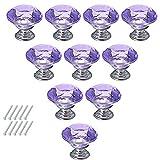 10 Pcs Dresser Knobs, Haoun Crystal Glass Cabinet Knobs 30mm Diamond Shape Drawer Pulls Handles - Purple