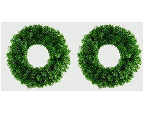 2 x Premier 50cm Plain Green Artificial Christmas Wreath Wall Door Decoration
