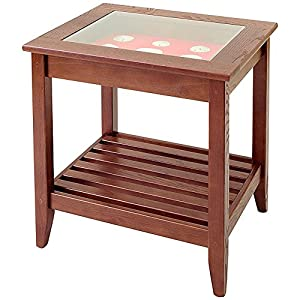 Bon Manchester Wood Glass Top Display End Table   Chestnut