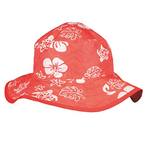 (Baby Banz Girls' Hat Reversible Sea Turtle, Red, 2-5 Years)