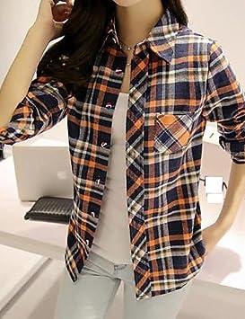 Mujer, Diseño de cuadros, color azul y verde/naranja Camisa, Camisa cuello manga larga, color verde, tamaño XL: Amazon.es: Deportes y aire libre