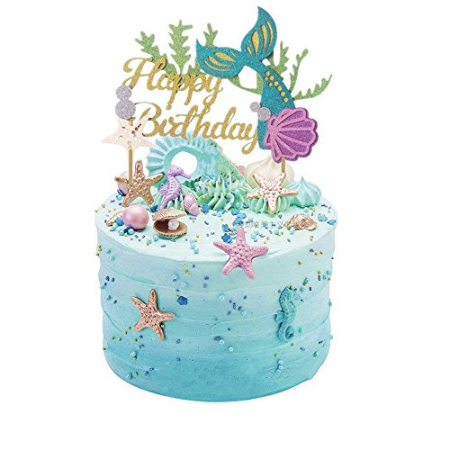 Glitter Mermaid Cake Topper Happy Birthday Cake Picks Mermaid Cake Decoration for Mermaid Baby Shower Birthday Party Supplies By ZiYan (Edible Mermaid Cake Decorations)