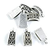 1080 Pieces Antique Silver Tone Jewelry Making Charms Crafting Beading Craft P7LE1 Arched Bail Cord Ends