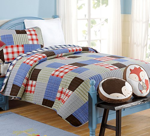 ons Sunshine Boy Bedding Quilt Set, Red Blue Grid Print Real Patchwork 100% COTTON Reversible Coverlet Bedspread, Gifts for Kids/Boy NEW Arrival (Grid Patchwork, Twin - 2 piece) (New Car Twin Quilt)