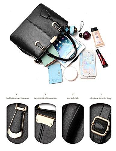 Pahajim women handbags PU leather top handle satchel tote purse shoulder bags (wine red) by Pahajim (Image #2)