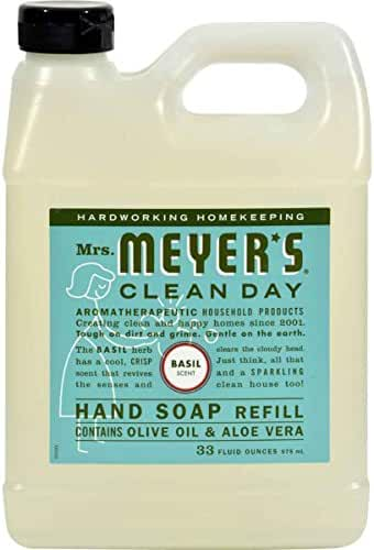 Mrs. Meyers Clean Day Hand Soap Refill, Basil Scent 33 oz ( Pack of 6)
