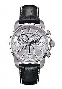 Certina C0016391603700 - Reloj cronógrafo de cuarzo para hombre con correa de piel, color negro