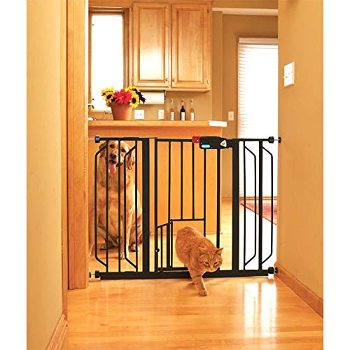 Black Expansion Gate with Swinging Door Wide Pet Gating Opening Doorway Cat Walk Through Hatch Entry Stairs Kitchen Hallway, Extends Upto 30-52 Inches Metal