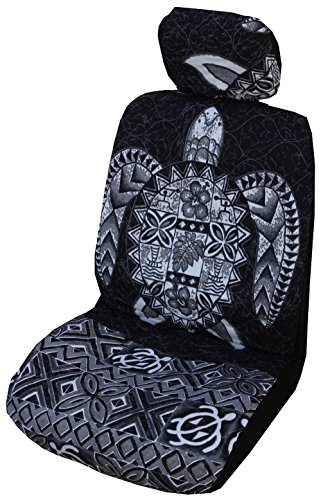 Black Big Honu Hawaiian Separate Headrest Car Seat Cover; Made in Hawaii - Set of 2