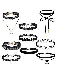 Oidea Wholesale 9 pcs Womens Sexy Black Velvet Choker Collar Lace Tattoo Necklace