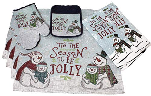 8 Pc Tis The Season Snowman Placemats and Holiday Kitchen Towel Set - Tapestry Design - 4 Placemats, 2 Kitchen Towels, 1 Pot Holder and Oven Mitt - Comes in an organza bag for giving!