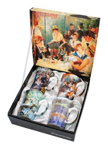 4 Renoir Classics Coffee or Tea Mugs in a Matching Gift Box and 6 Tea Bags, Bundle 2 Items (Fine 2 China Bone)