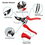 """SHINE HAI Pruning Shears, Professional 8.5"""" SK5 Sharp Bypass Hand Pruner Shears with Safety Lock, Tree Trimmers Secateurs, Garden Shears, Clippers for the Garden, Red"""