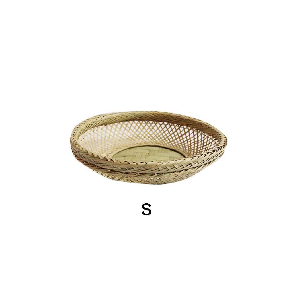 Xiangpian183 Bambus Gewobener Korb Einkaufskorb Gemüse& Obst Ablagekorb Weidenkorb Flechtkorb, S M L