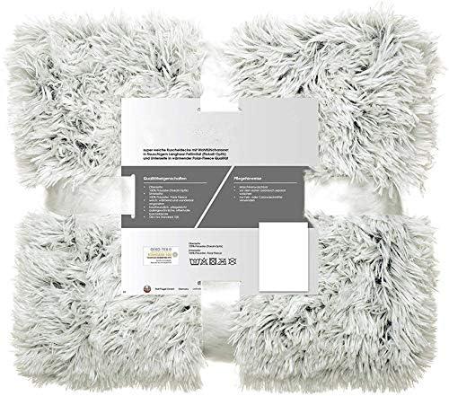 NoBrand Couverture Douillette 150 x 200 cm Couvre-lit en Molleton Polaire Gris cr/ème Couverture r/éversible Cheveux Longs