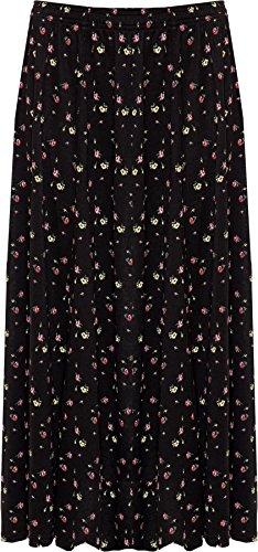 WEARALL Femmes Plus Floral Imprimer Jupe lastique tendue Taille Midi Longueueur - 44-58 Noir