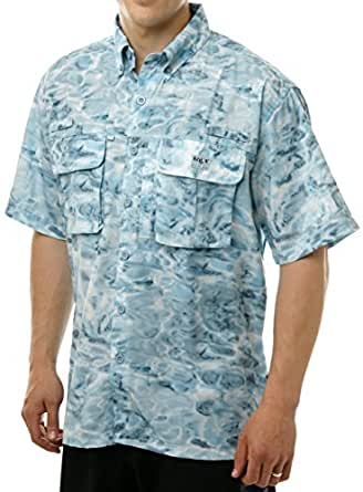 Aqua design men saltwater vented short sleeve camo flats for Saltwater fishing shirts