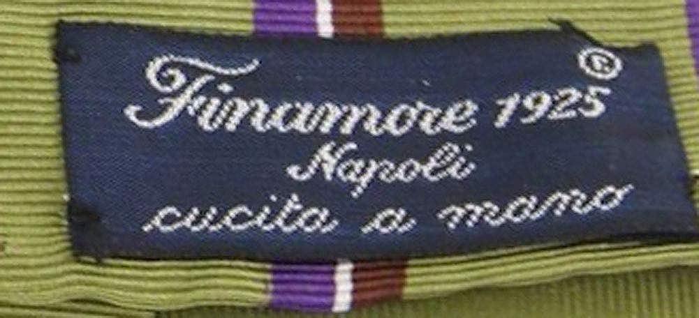 New Finamore Napoli Green Silk Tie
