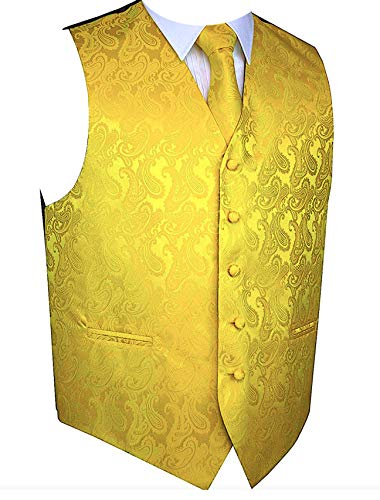 Paisley Vest Bow Tie Set-Yellow Gold-LG