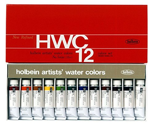 Watercolor Paint Set - Holbein W440 - 15ml Tubes Set No.5 - 12 vibrant colors - Lightweight and portable - Perfect for budding hobbyists and artists - Made in japan (Holbein Tube)