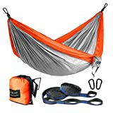 FARLAND Outdoor Camping Hammock Portable Anti-Fade Nylon Single Double Hammock with Loop Straps (Orange/Light Grey, Double 78 x 118 inch)