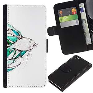 Koi Pond Japón Minimalismo Naturaleza- la tarjeta de Crédito Slots PU Funda de cuero Monedero caso cubierta de piel Para Apple (4.7 inches!!!) iPhone 6 / 6S