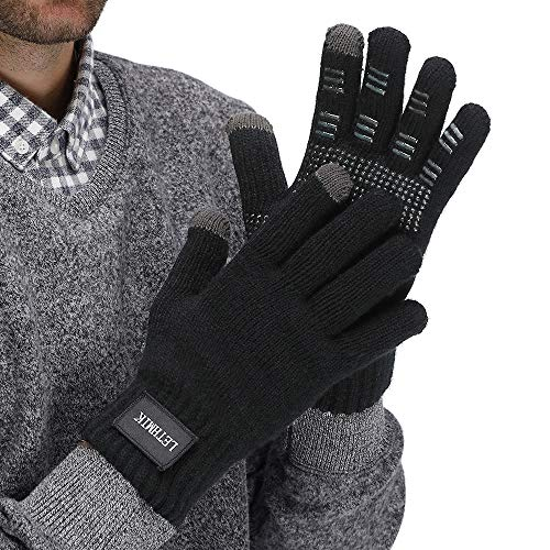 LETHMIK Mens Non-Slip Winter Gloves,Touchscreen Thick Knit Texting Gloves with Warm Wool Lining Black