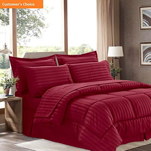 Mikash New Soft 6 Piece Bed in a Bag with Dobby Stripe Comforter, Sheet Skirt, and Sham Set, Twin, Burgundy, 6 | Style 84597825 (Comforter Set Grayson)