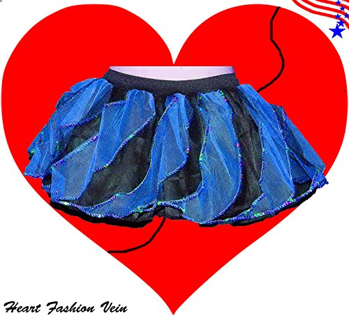 Blue Black Sequins Twister Two Tone Tutu Skirt Halloween Bumble Bee Queen (Barbie Doll Halloween Costumes Adults)