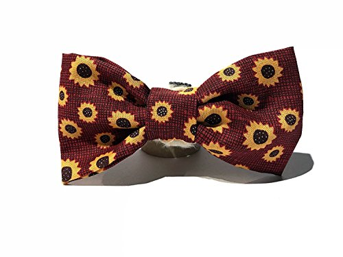 Very Vintage Designs Sunflower Field - Burgundy Red Maroon Fall Harvest Sunflower Thanksgiving Autumn Hand-crafted Bow Tie for a Dog or Cat Collar - Bowtie only - Handmade in the USA by Very Vintage Designs