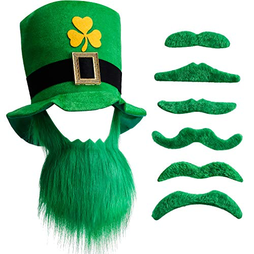 Chuangdi 6 Pieces Green Mustache Beard St. Patrick's Day Party Accessory, St. Patrick's Day Hat and Beard Leprechaun Top Hat and Beard for Men and Women (1 Set) -
