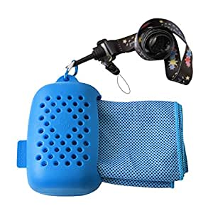 Bamboo Microfiber Cooling Towel & Silicone Pod with lanyard - Cooling towel/ neckband/ headband/ Bandana/ Scarf, Instant Cooling, Antibacterial, Naturally absorbent and Moisture wicking; Lightweight & Compact (100cm x 30cm / 39 x 12 inches) with an eco-friendly and breathable silicone pod, Perfect for:the beach, gym, travel, yoga, camping, hiking, tennis, outdoor sports and Gift (Blue)