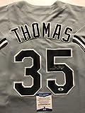 Autographed/Signed Frank Thomas Chicago White Sox Grey Baseball Jersey Beckett BAS COA