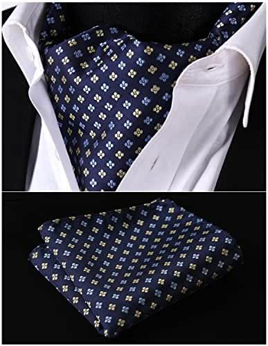 HISDERN Men's Ascot Polka Dot Jacquard Woven Gift Cravat Tie and Pocket Square Set